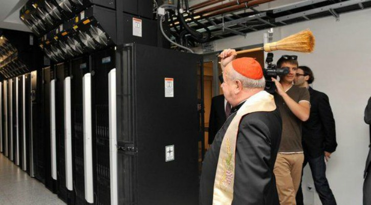 Russian Orthodox Priest Blessing A Server Room