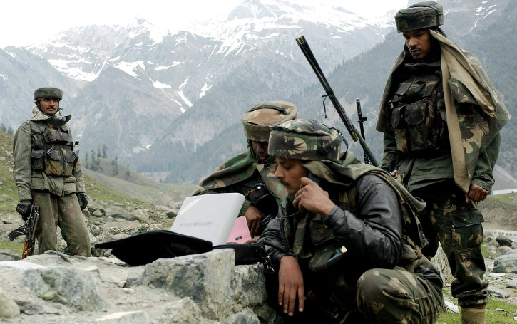 satellite phone being used by indian armed forces