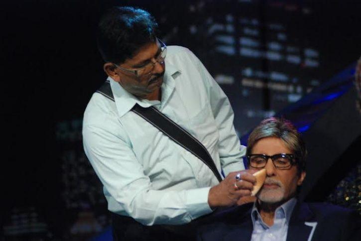 Amitabh Bachchan with his make-up artist