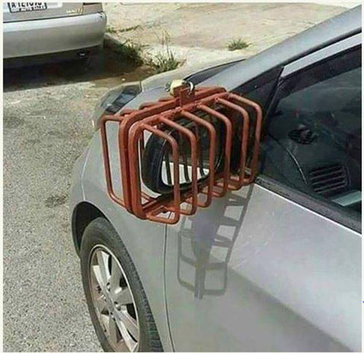 Locked up rear view mirror