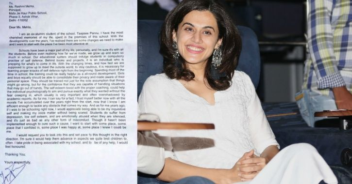 Taapsee Pannu Letter