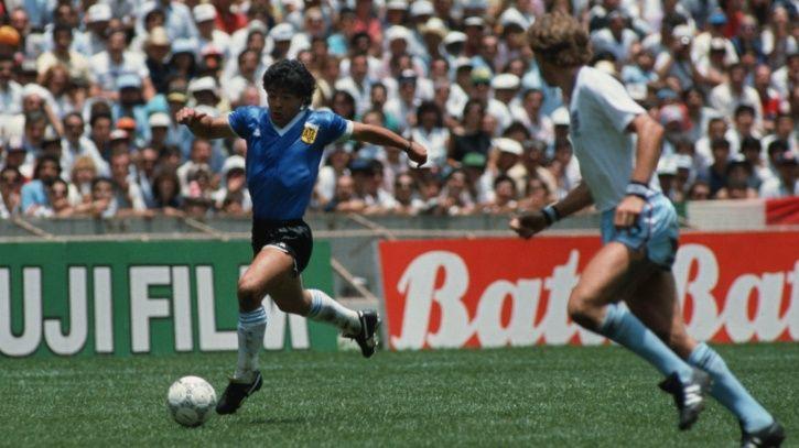 Maradona scoring the goal of the century against England.