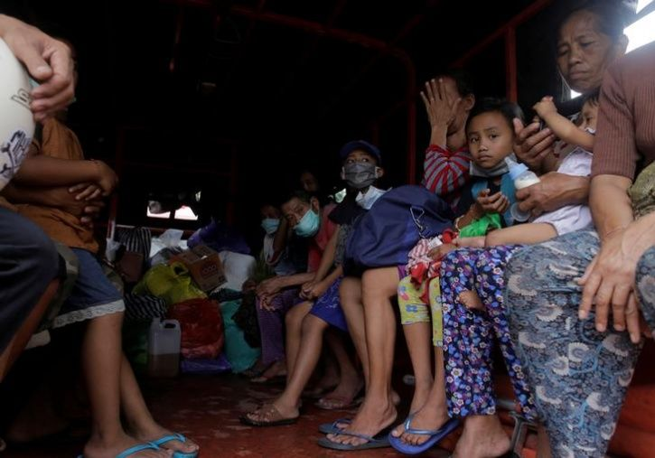 Villagers are evacuated from inside the exclusion zone due to the eruption of Mount Agung volcano