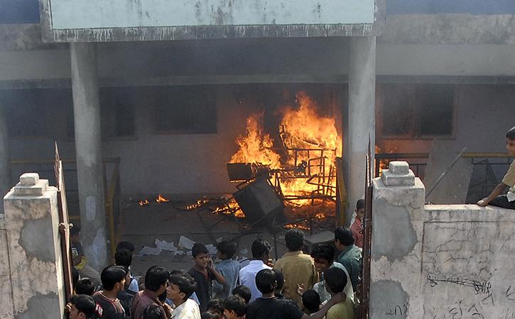 Burning school
