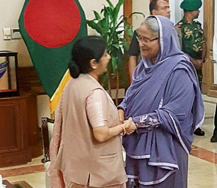 Sushma Swaraj and  Bangladesh PM Sheikh Hasina