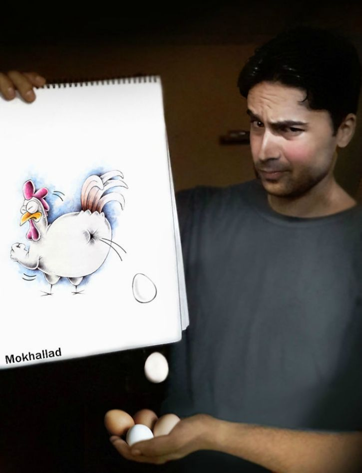 Mokhallad Habib a pharmacist believes that are other ways to help people as well; by putting a smile on their face. He uses his skills as an artist to mix photography, drawing and real-life objects to create a surreal picture.