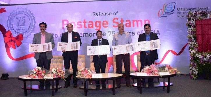 Two stamps commemorating 75 years of operations of Chhatrapati Shivaji International Airport were unveiled today by the Department of post