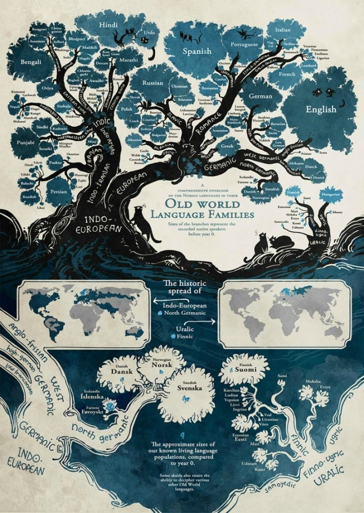 Most of the languages we speak today can be grouped by their origin; some of them even revealing fascinating correlations with each other. This amazing infographic by illustrator Minna Sundberg reveals the intricate linkages between various languages and their roots.
