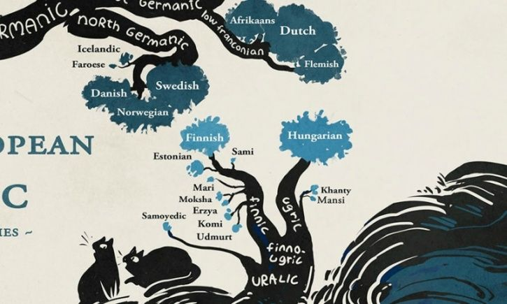 Most of the languages we speak today can be grouped by their origin; some of them are even fascinatingly correlated with each other. This amazing infographic by illustrator Minna Sundberg reveals the intricate linkages between various languages and their roots using information from Ethnologue.   It depicts the connection Hind and Urdu as well all the other regional languages in India, like Gujrat, with the Indo-Iranian family.   The European branch splits into a rather complicated confluence of Slavic, Romance and Germanic.  It reveals the complex relationship between all the languages associated with the Slavic family, while English reveals divulges its roots in Germanic.   The Finnish and Hungarian languages are shown to emerge from the Uralic family.