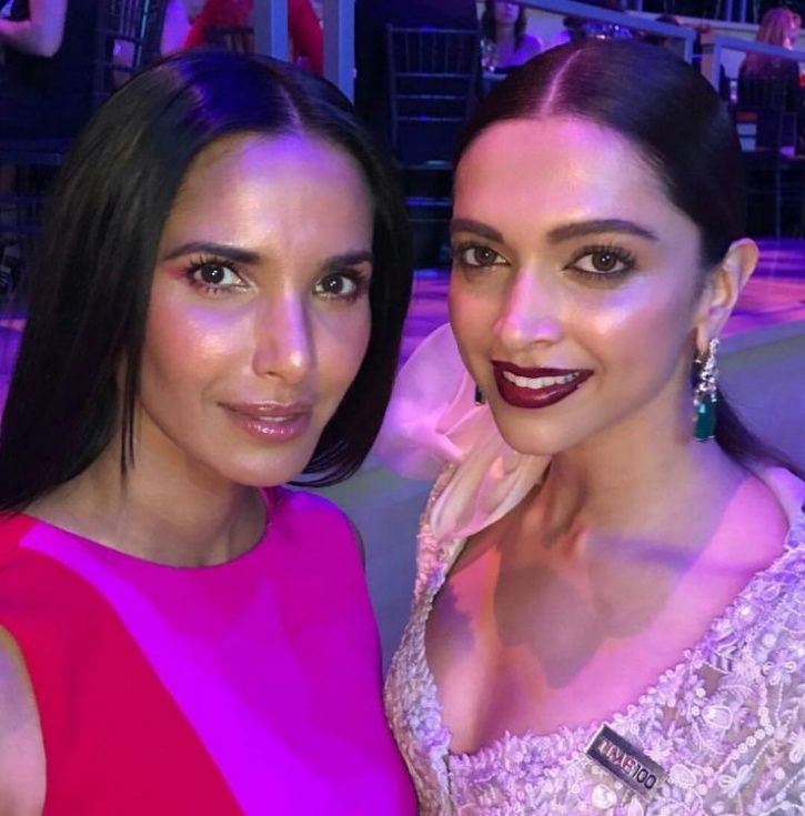A picture of Deepika Padukone with Hollywood manager & Top Chef host Padma Lakshmi at Time 100 Gala