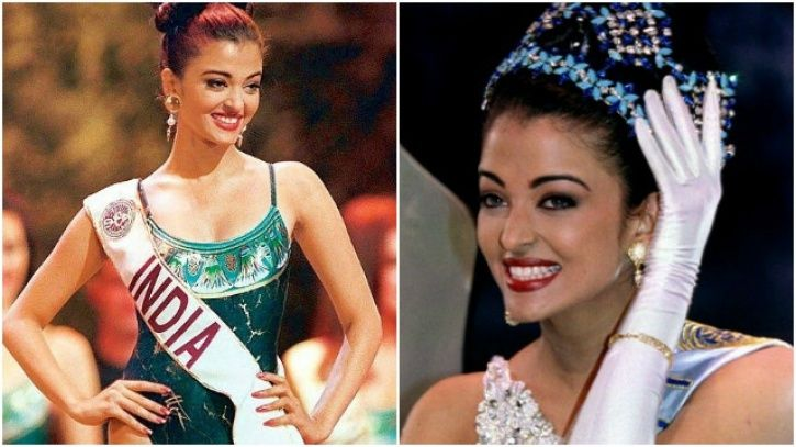 A picture of Miss world 1994 winner Aishwarya Rai Bachchan with the crown.