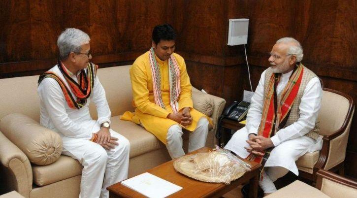 A picture of Narendra Modi, Amit Shah and Tripura CM Biplab Kumar Deb.