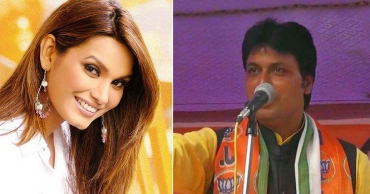 a picture of Tripura CM Biplab Kumar Deb  and Miss World 1997 Diana Hayden