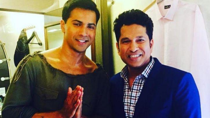 A picture of Varun Dhawan with Sachin Tendulkar.