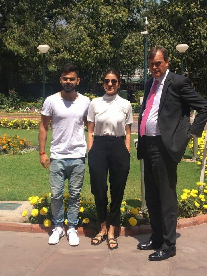 A picture of Virat Kohli and Anushka Sharma at British High Commission in New Delhi.