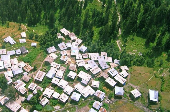 Aerial view of the village Malana.