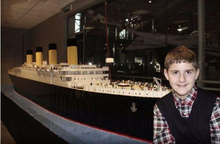 boy builds Titanic replica with legos