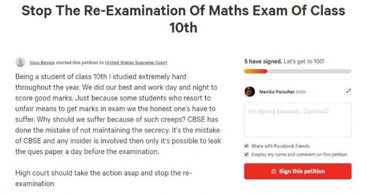 CBSE re-exam Math petition
