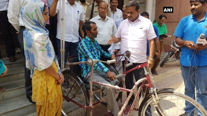 Disabled Man Seen Being Carried On Shoulder By His Wife Gets A Tricycle