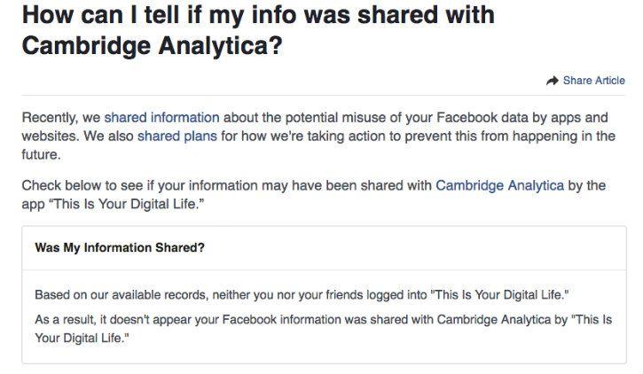 facebook notification on cambridge analytica