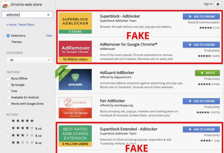 fake ad blocker in google chrome
