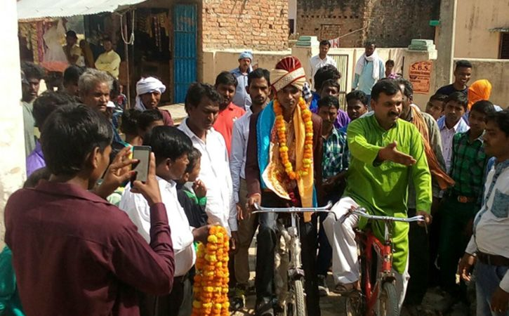 Groom Pedals To Bride House In UP Pratapgarh