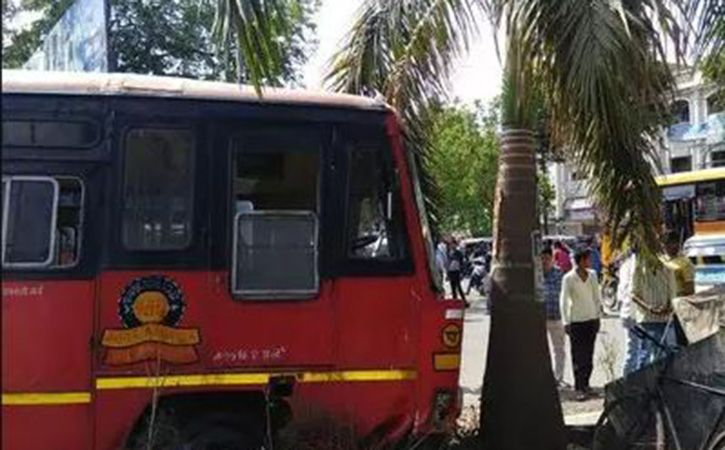Man Steals Empty Public Bus Rams It Into Tree At Boisar