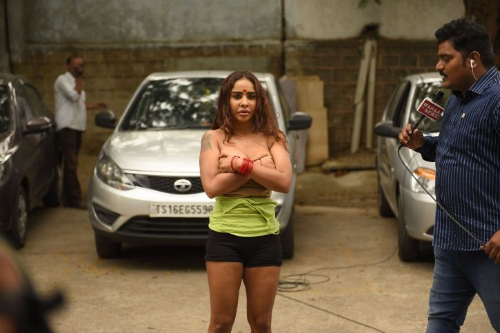 Telugu actress Sri Reddy protests against casting couch and strips off her clothes.