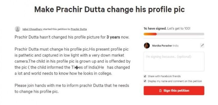 Weird petitions change dp on fb