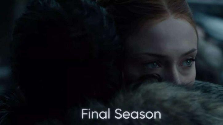 A picture of Jon Snow hugging Sansa Stark from Game of Thrones season 8.