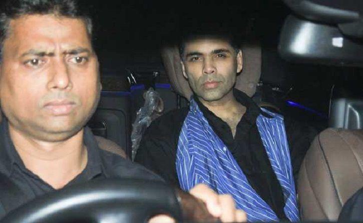 A picture of Karan Johar arriving at Ranbir Kapoor