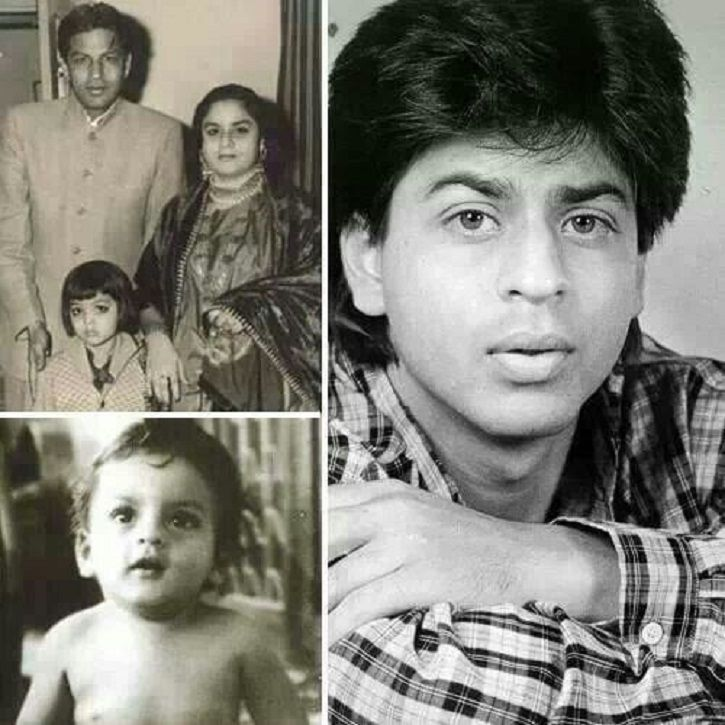 A picture of Shah Rukh Khan with his father and mother. childhood picture of shah rukh khan.