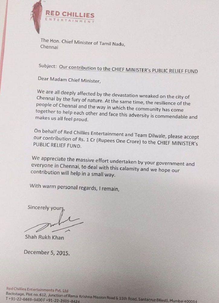 Shah Rukh Khan donates to Chennai Flood Victims.