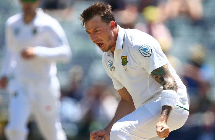 Dale Steyn goes past Shaun Pollock