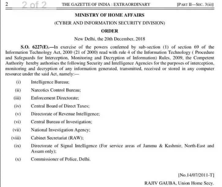 indian government order to monitor all communication between computers