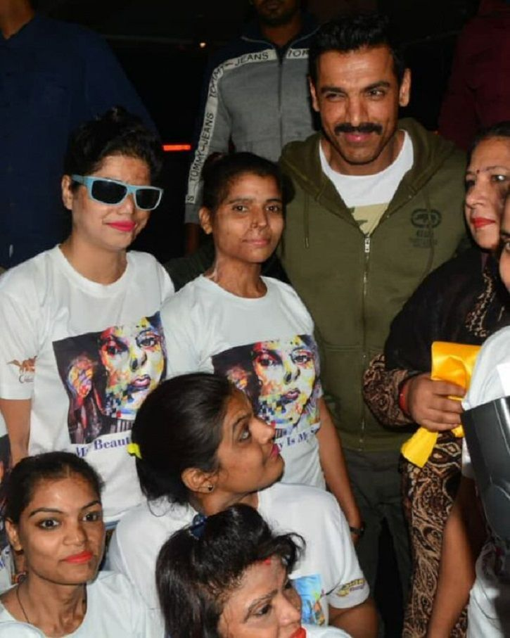 John Abraham Takes Time Out From Shoot To Meet Acid Attack Victims In Lucknow