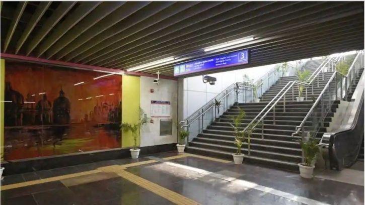 Pink line, Ashram metro station, Delhi, DMRC, Mayur Vihar Pocket 1, concourse level, flyover