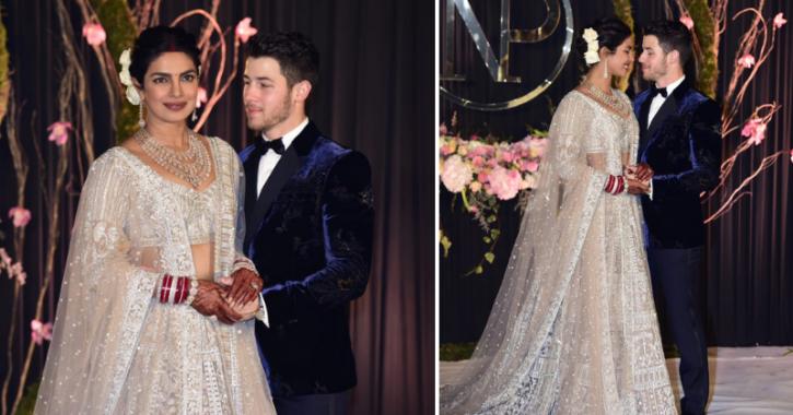 Priyanka Chopra and Nick Jonas at their wedding reception in Delhi.