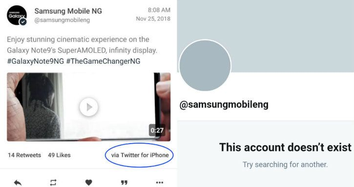 samsung tweet abouts new phone from an iPhone
