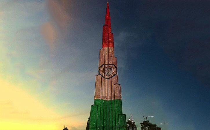 Burj Khalifa Dubai Frame Light Up In Colours Of Indian Flag