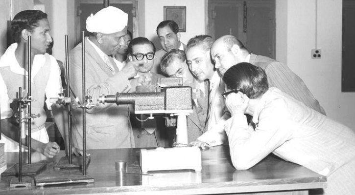 CV Raman showing off his spectrograph