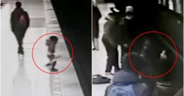 In a shocking incident, a two-year-old, who was running on the platform towards the train at the Rep