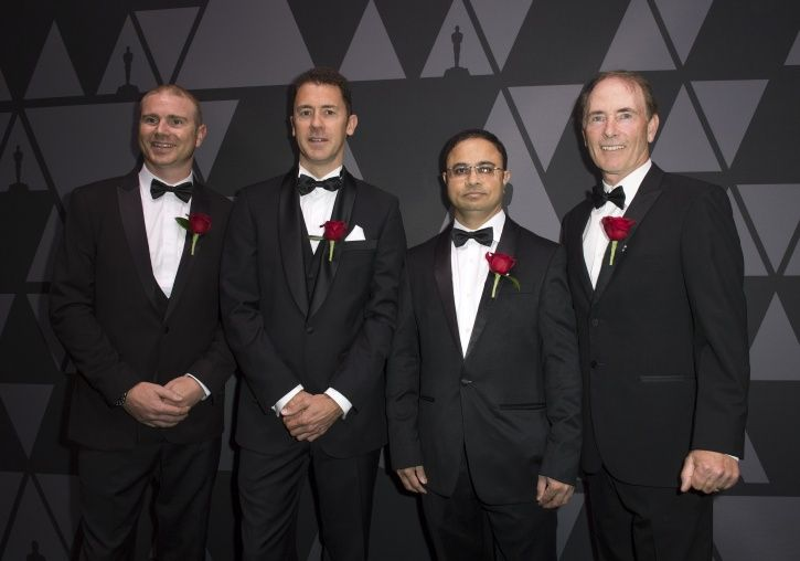 (L-R) Brad Hurndell, Shane Buckham, Vikas Sathaye, and John Coyle arrive for the Academy of Motion