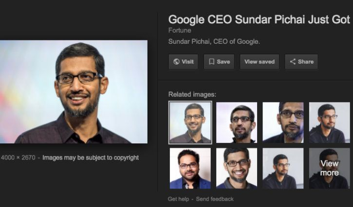 New Google Image search result page without View Image button
