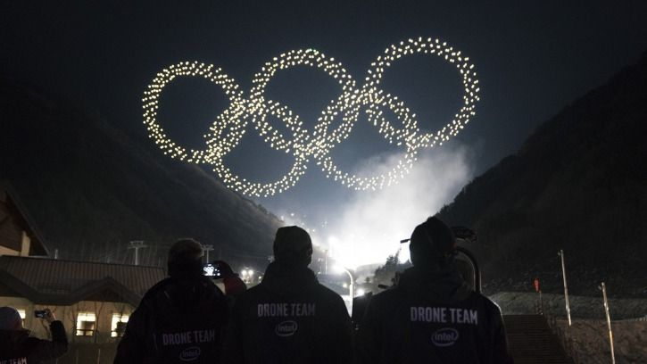 olympic ring with intel flying drone
