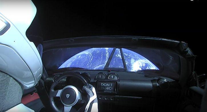 Tesla Roadster car in asteroid belt