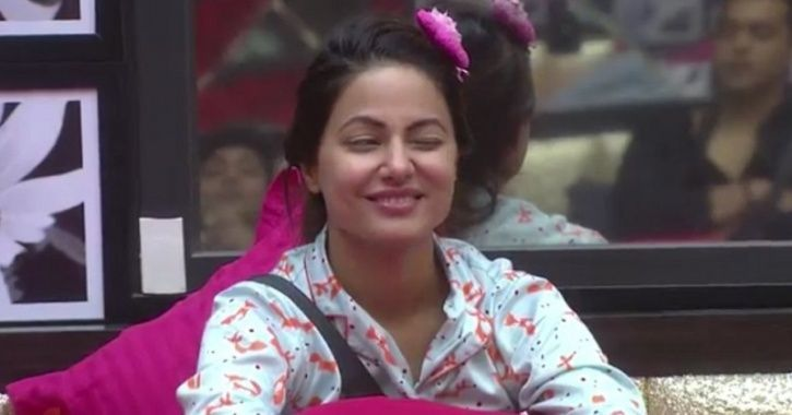 A still of Hina Khan in her night suit from Bigg Boss 11.