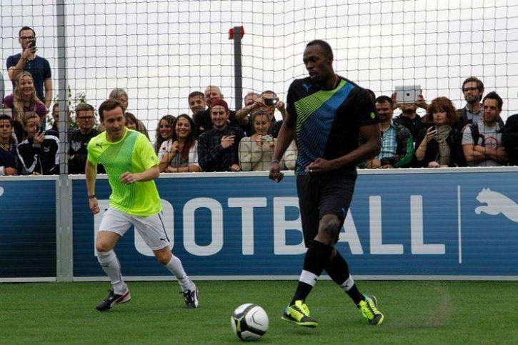 bolt playing football