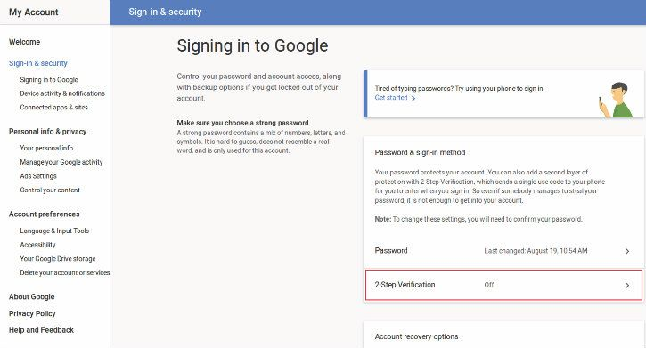 Gmail 2 Factory Authentication