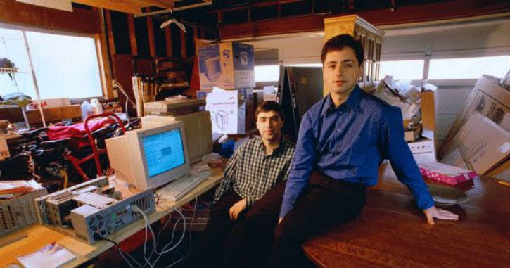 Larry Page and Sergey Brin starting Google in a garage in 1998